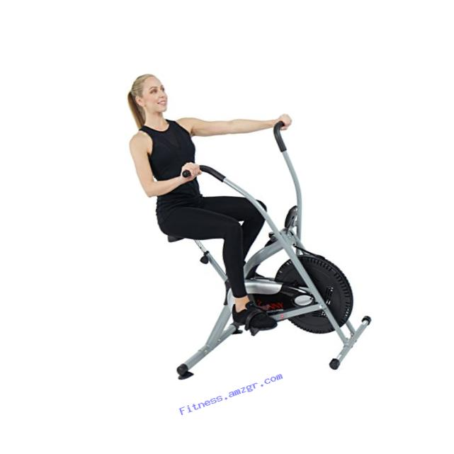 Sunny Health & Fitness SF-B2621 Cross Training Fan Upright Exercise Bike w/ Arm Exercisers